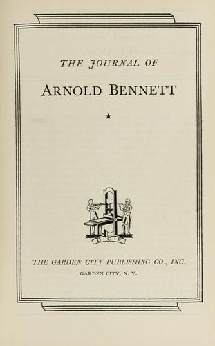The journal of Arnold Bennett