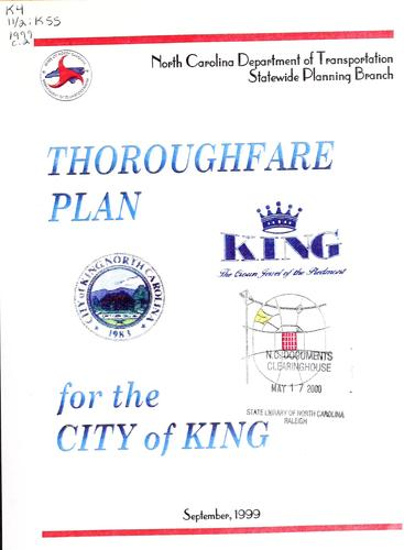 City of King thoroughfare plan by North Carolina. Division of Highways. Statewide Planning Branch