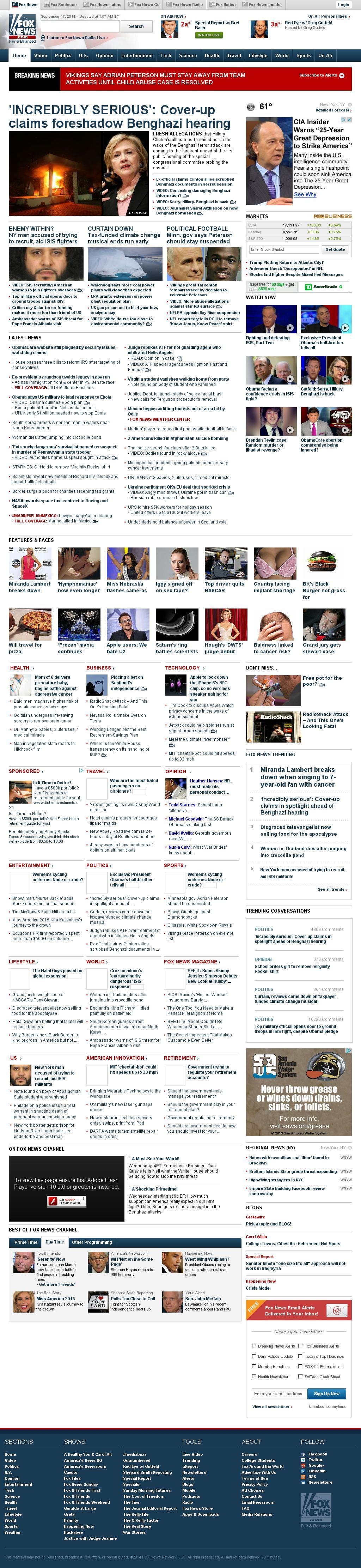 Fox News at Wednesday Sept. 17, 2014, 7:06 a.m. UTC