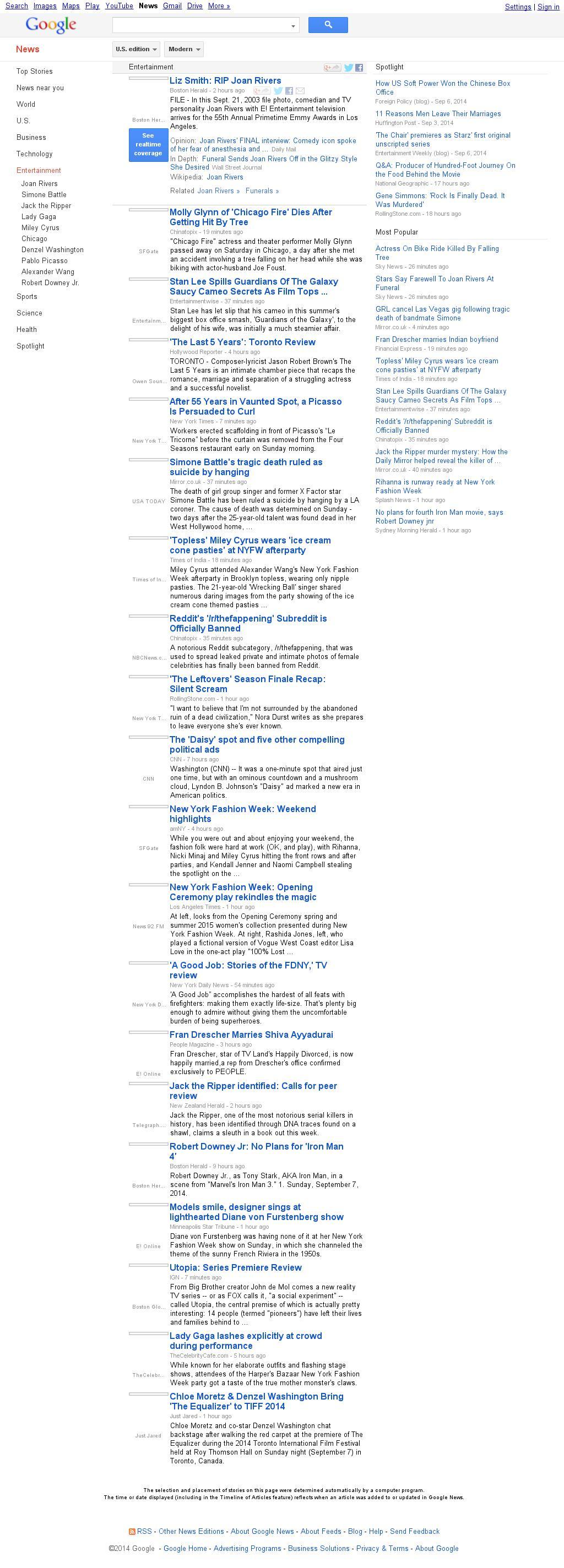 Google News: Entertainment at Monday Sept. 8, 2014, 7:06 a.m. UTC