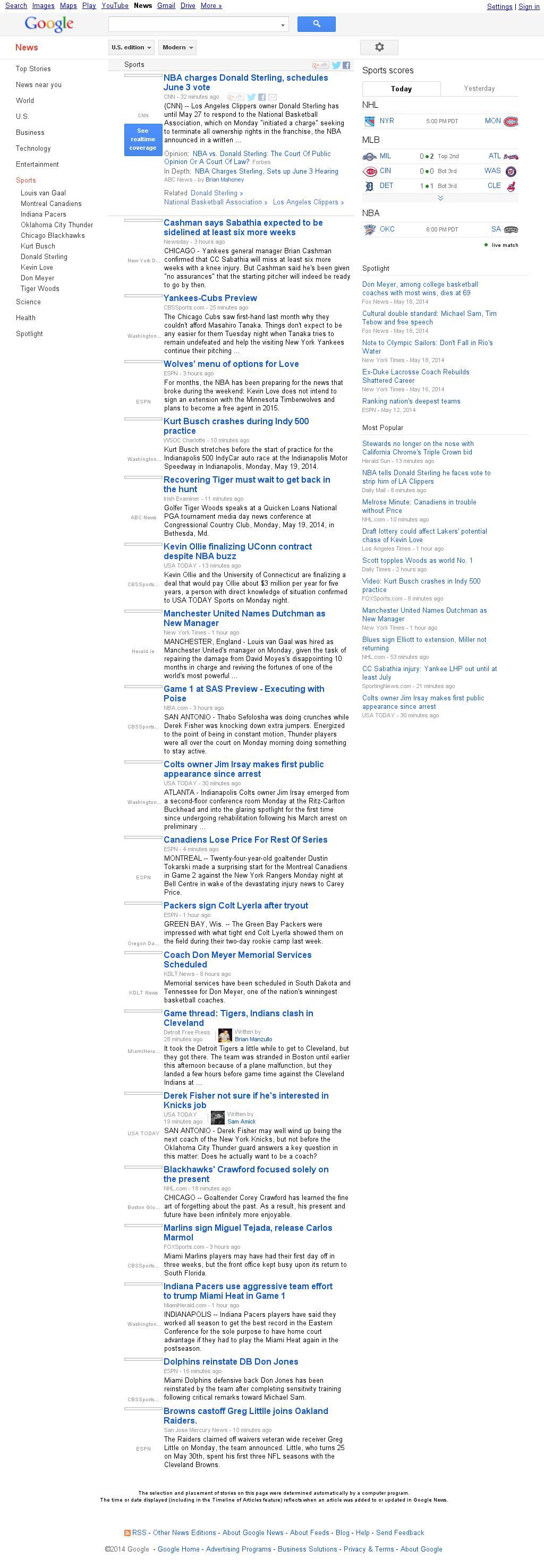 Google News: Sports at Tuesday May 20, 2014, 12:09 a.m. UTC