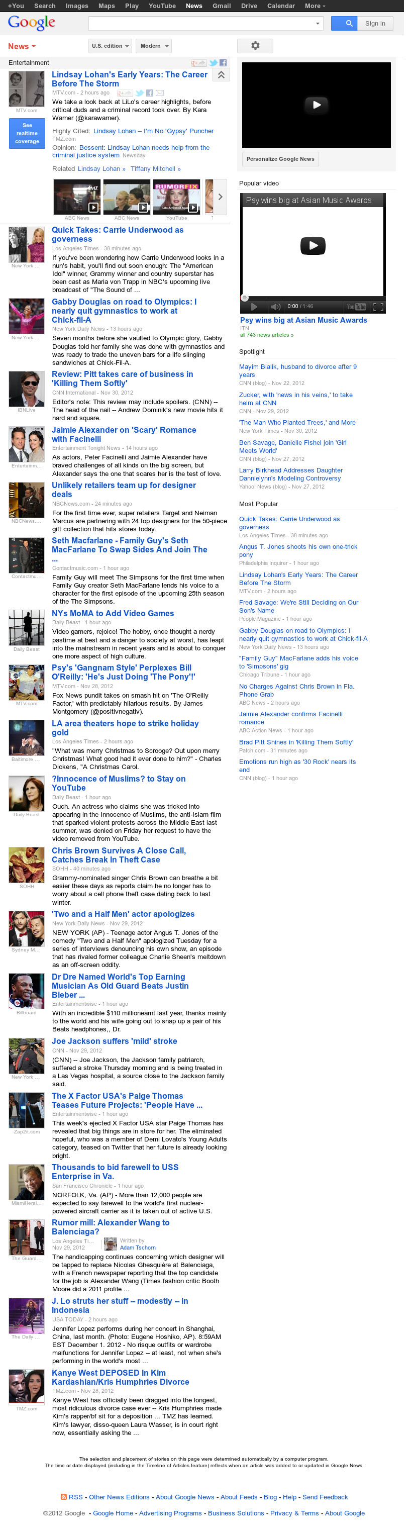 Google News: Entertainment at Saturday Dec. 1, 2012, 4:11 p.m. UTC