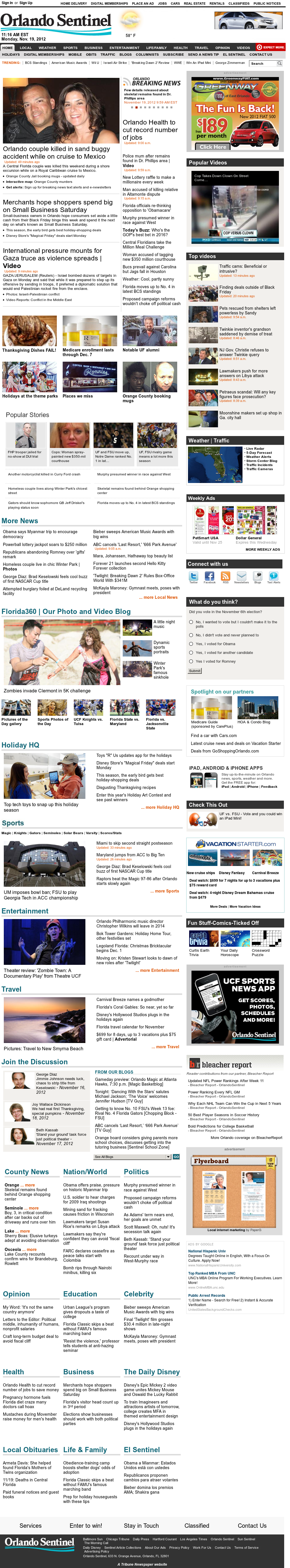 Orlando Sentinel at Monday Nov. 19, 2012, 4:23 p.m. UTC
