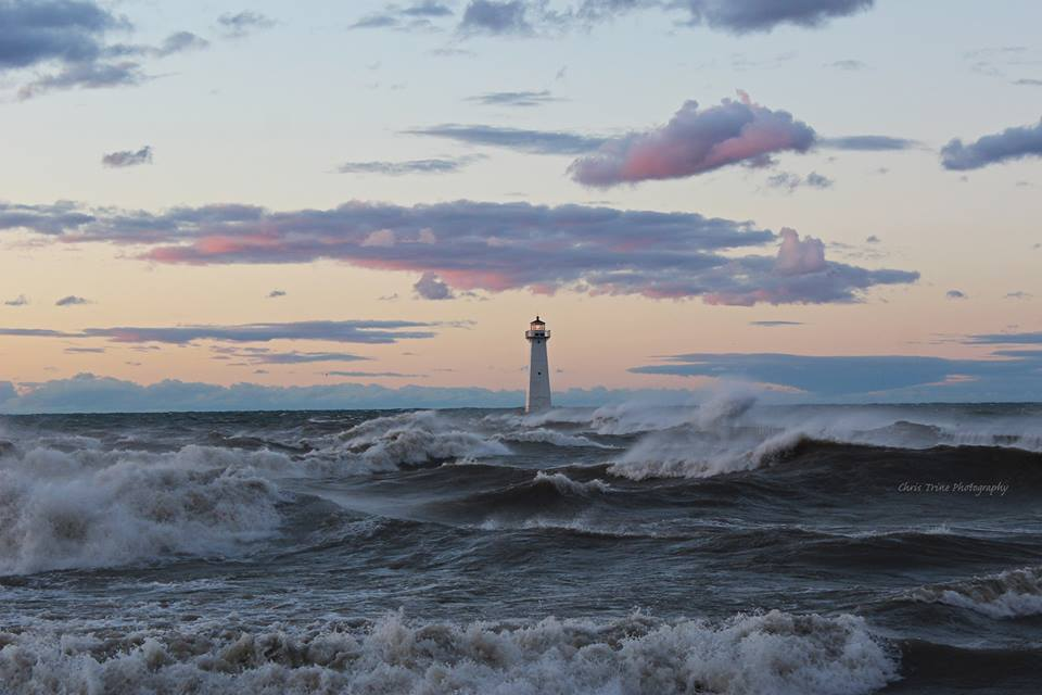 Sodus Point as the waves roll (photo)