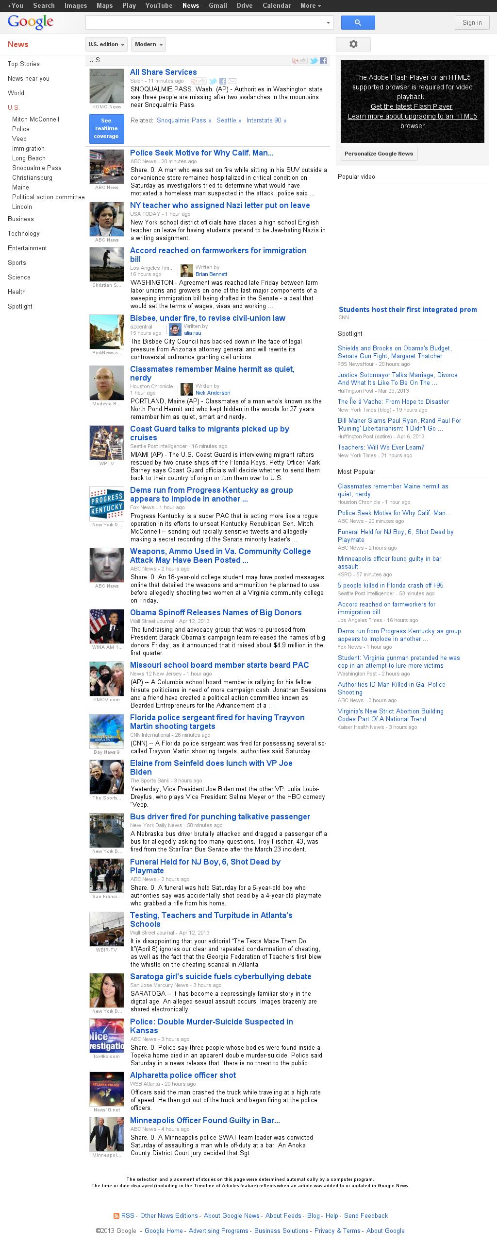 Google News: U.S. at Saturday April 13, 2013, 10:09 p.m. UTC