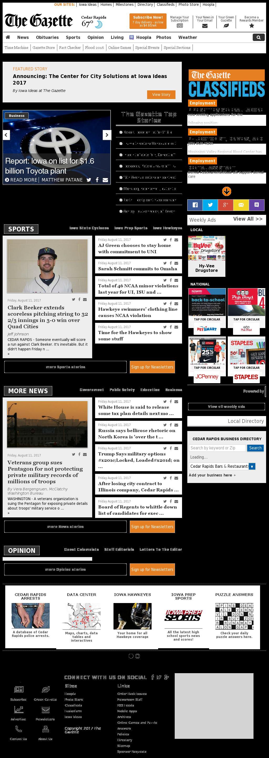 The (Cedar Rapids) Gazette at Saturday Aug. 12, 2017, 4:06 a.m. UTC