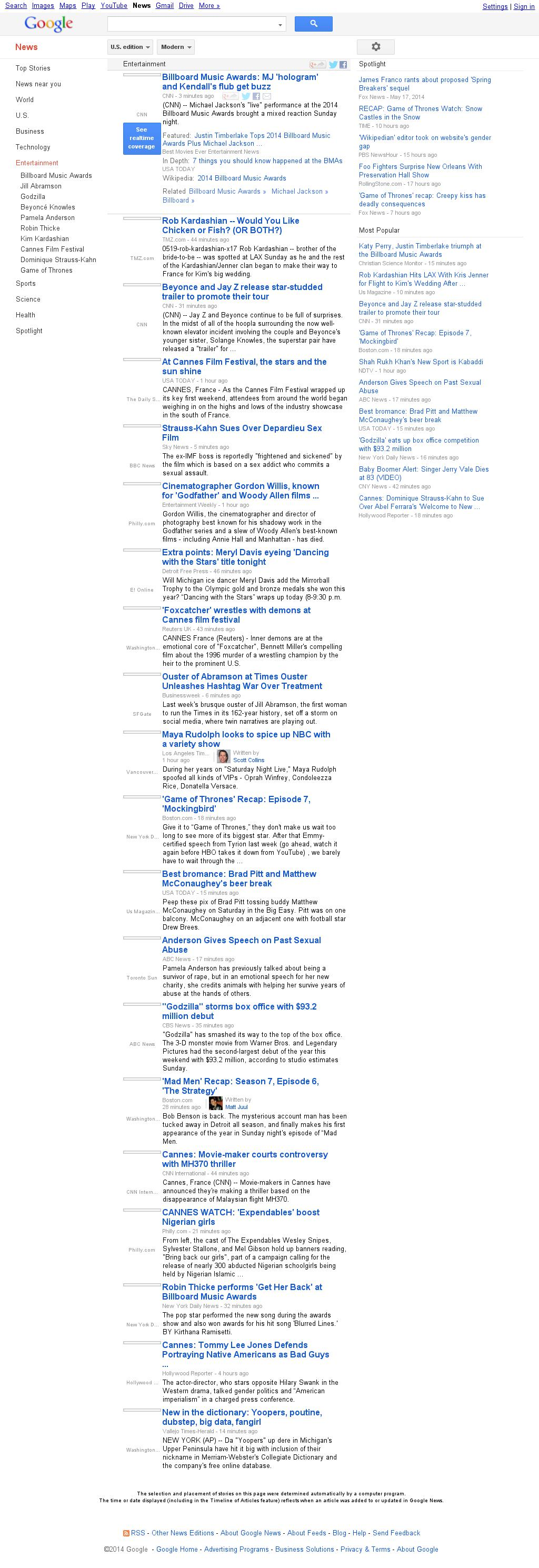 Google News: Entertainment at Monday May 19, 2014, 2:06 p.m. UTC