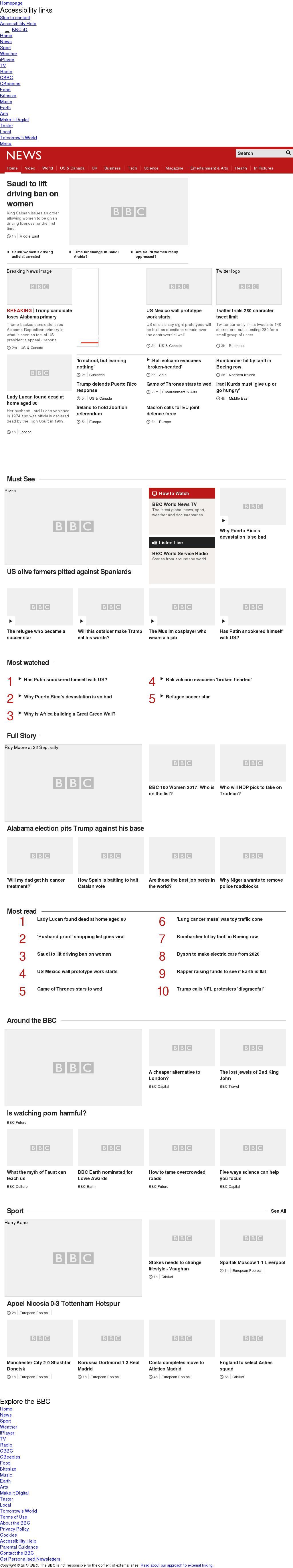 BBC at Wednesday Sept. 27, 2017, 2 a.m. UTC