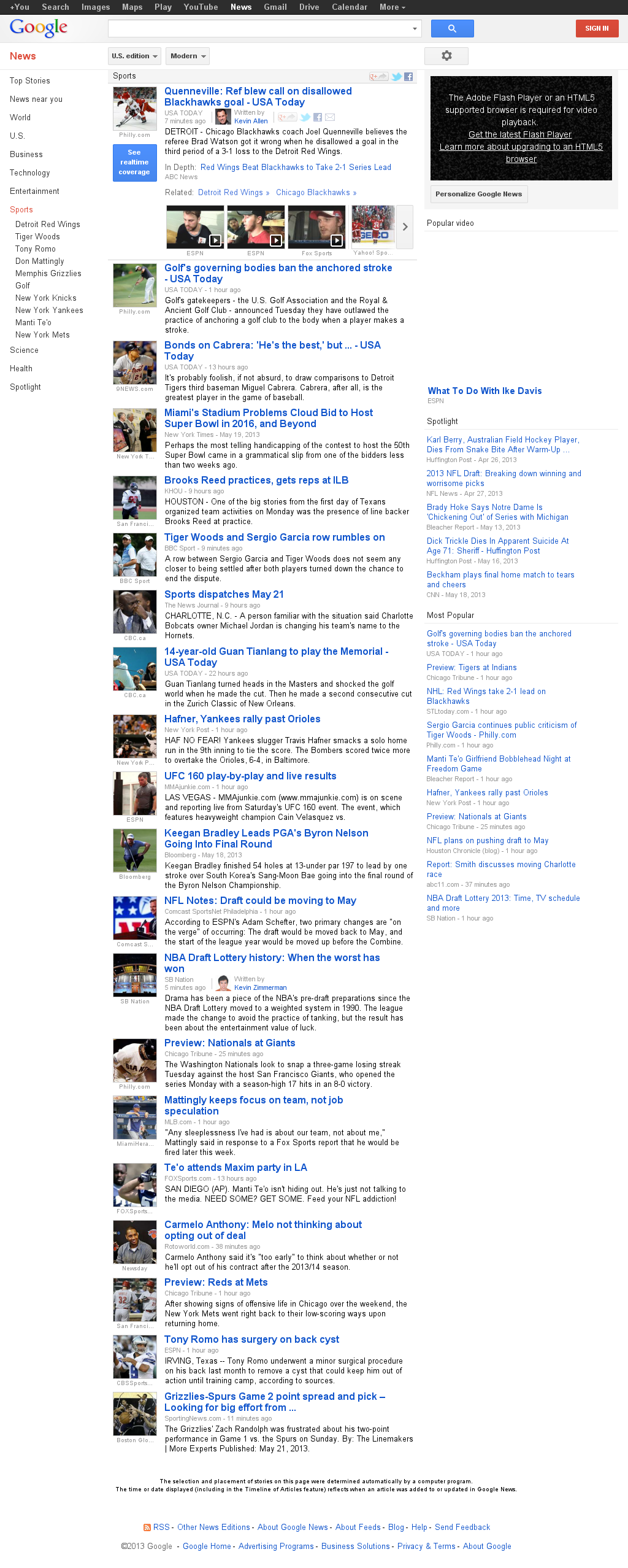 Google News: Sports at Tuesday May 21, 2013, 1:08 p.m. UTC