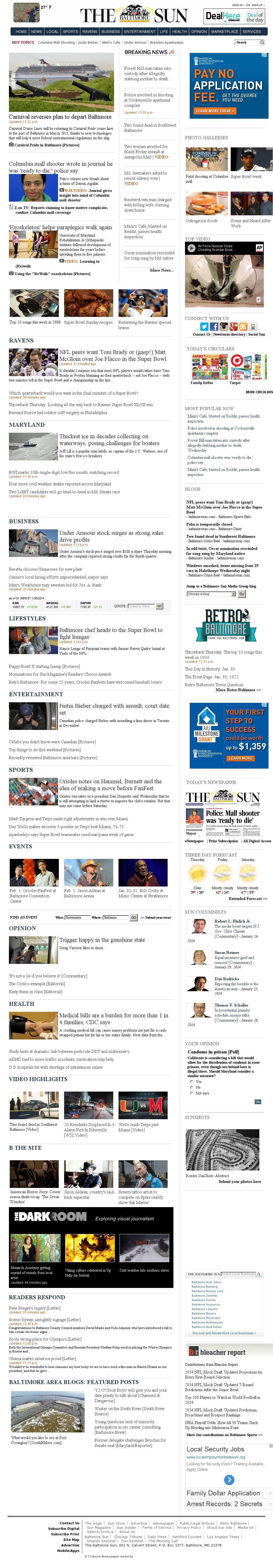 The Baltimore Sun at Thursday Jan. 30, 2014, 7 p.m. UTC