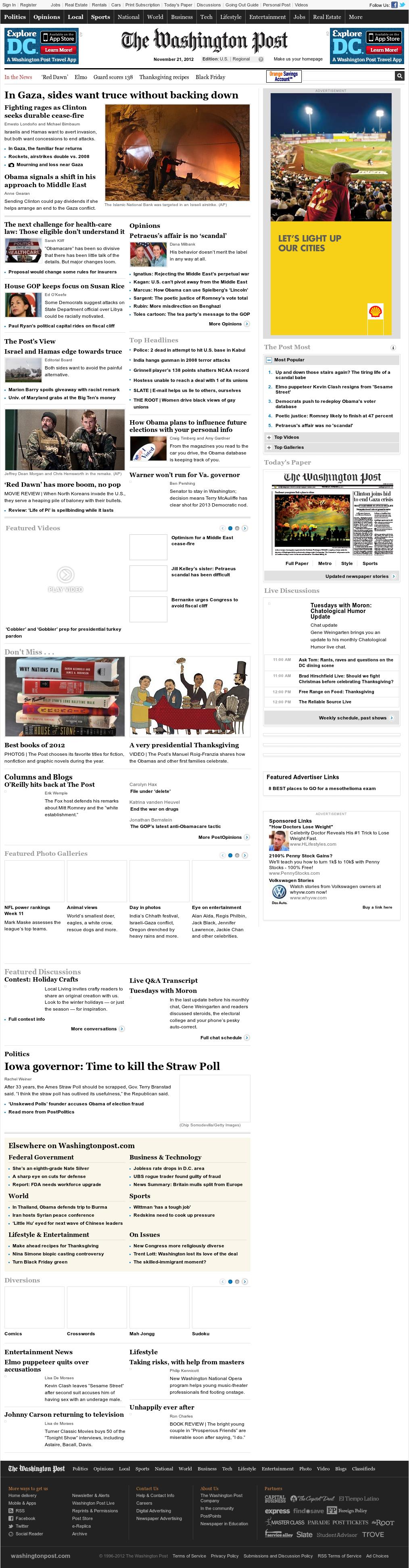 The Washington Post at Wednesday Nov. 21, 2012, 8:32 a.m. UTC