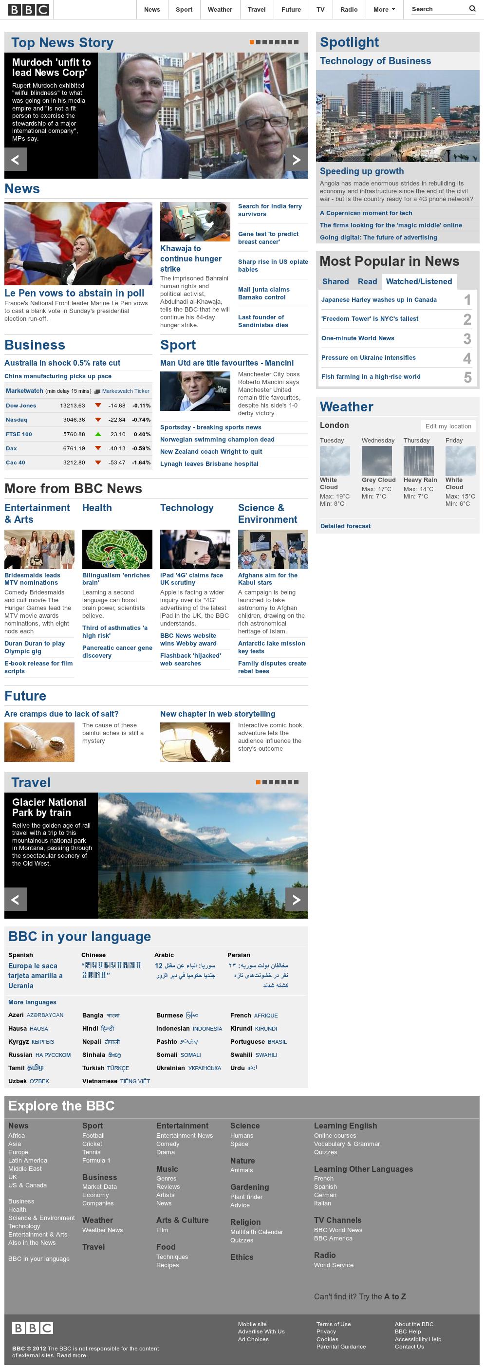 BBC at Tuesday May 1, 2012, 12:01 p.m. UTC