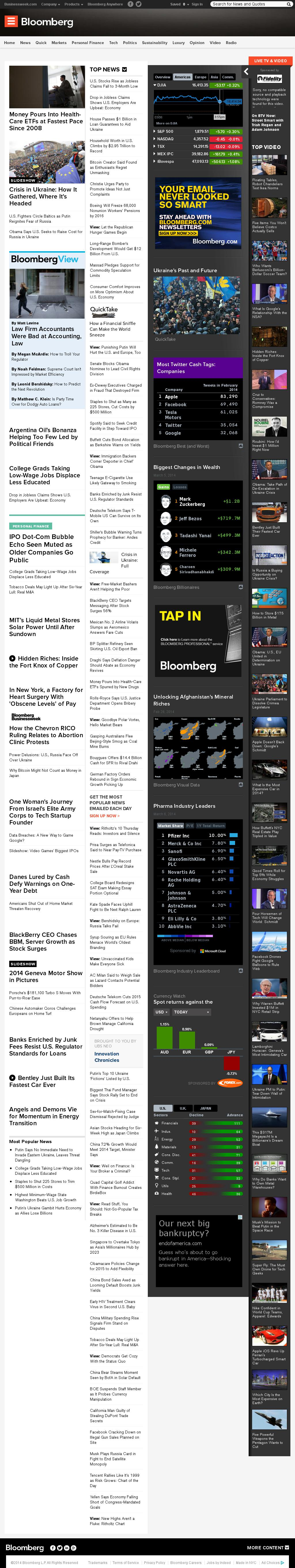 Bloomberg at Thursday March 6, 2014, 9 p.m. UTC