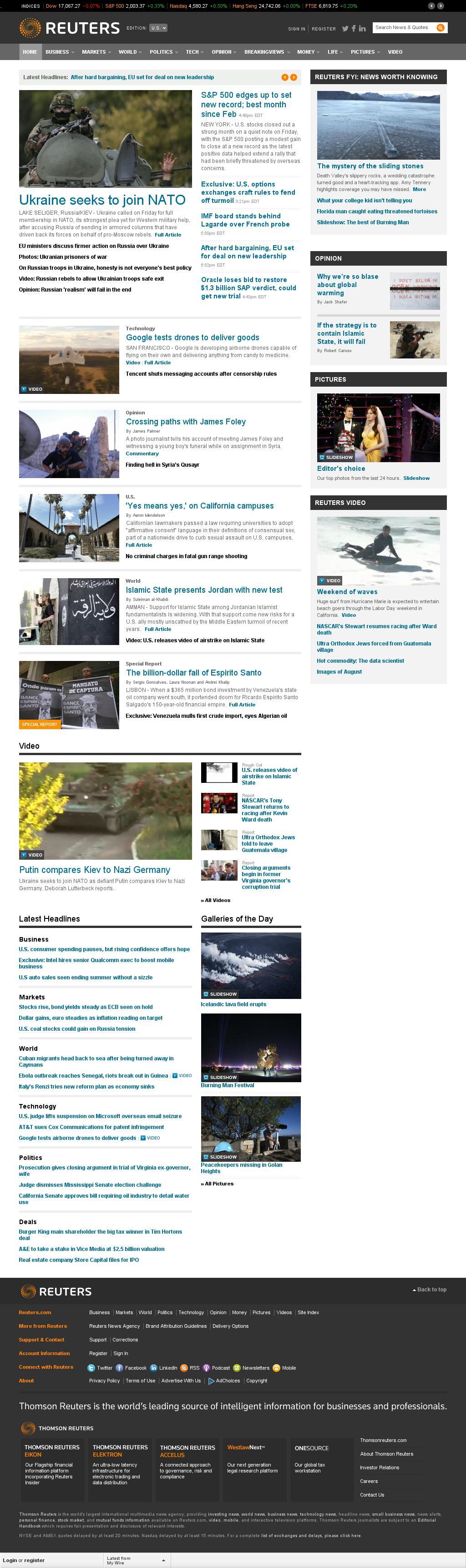 Reuters at Friday Aug. 29, 2014, 10:14 p.m. UTC