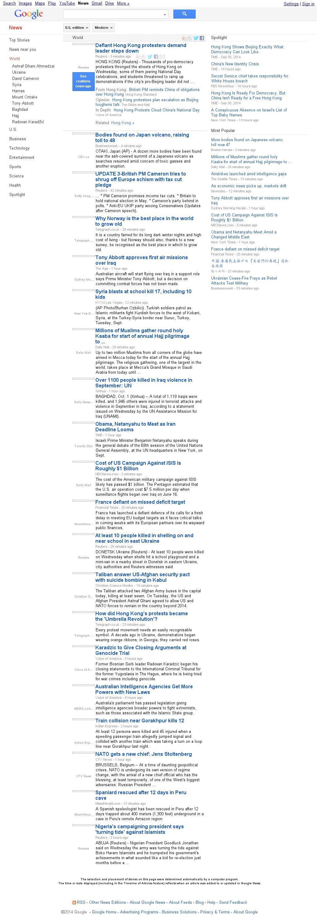 Google News: World at Wednesday Oct. 1, 2014, 1:07 p.m. UTC