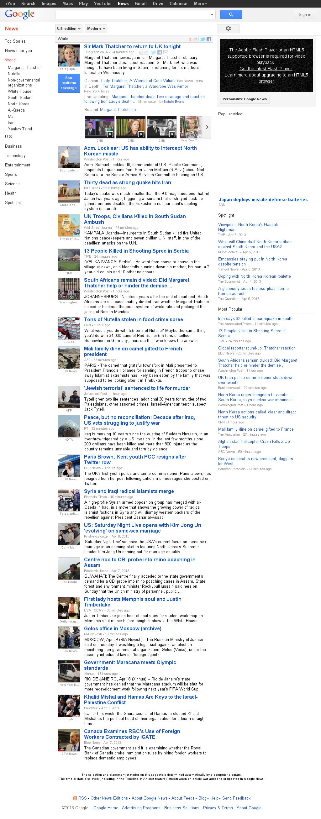 Google News: World at Tuesday April 9, 2013, 6:08 p.m. UTC