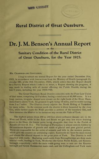 [Report 1925] by Great Ouseburn (England). Rural District Council