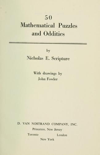 50 mathematical puzzles and oddities. by Nicholas E. Scripture